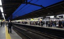 东京- 11月23 :在新宿火车站的高峰时间 免版税库存照片