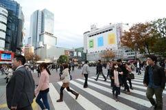 东京- 11月28 :横渡石牌的中心人人群  免版税库存图片