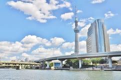东京Skytree和Sumida拘留所大厦 免版税库存照片