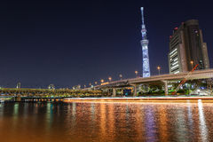 东京skytree在晚上 库存照片