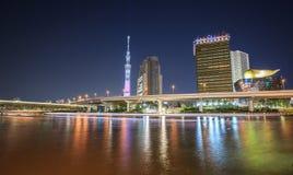 东京skytree在晚上 免版税库存图片