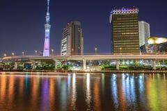 东京skytree在晚上 图库摄影