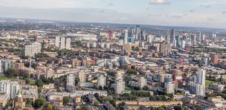 东伦敦斯特拉福鸟瞰图  免版税库存照片
