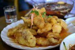 东北样式甜酸油煎的猪肉,中国纤巧,亚洲食物 库存照片
