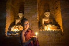 东南亚初学者是在Buddihist寺庙 图库摄影
