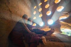 东南亚初学者是在Buddihist寺庙 免版税库存照片
