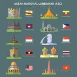 东南亚国家联盟国家地标(AEC) 免版税图库摄影