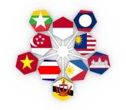 东南亚国家联盟联盟会员国旗 库存图片
