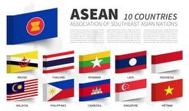 东南亚国家联盟 东南亚国家联盟 并且会员资格旗子 稠粘的笔记设计 ?? 库存例证