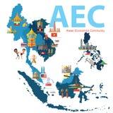 东南亚国家联盟经济公共(AEC) 免版税库存照片