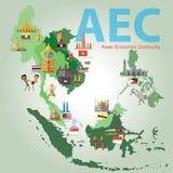 东南亚国家联盟经济公共(AEC) 库存照片