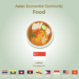 东南亚国家联盟经济公共AEC食物集合 库存照片