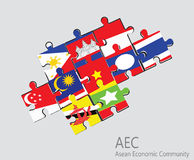 东南亚国家联盟经济共同体, AEC竖锯概念 免版税图库摄影