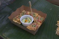 东南亚油煎的小牡蛎煎蛋卷 库存照片