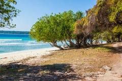 东帝汶白色沙子海滩 免版税库存照片