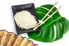 东方人套米、筷子、绿色叶子和transp 库存照片