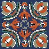 东方传统莲花叶子金鱼正方形样式 库存照片