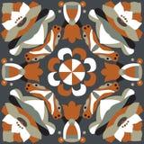 东方传统莲花金鱼正方形样式 图库摄影