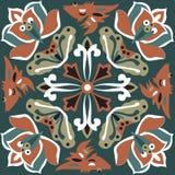 东方传统莲花金鱼正方形样式 库存图片