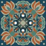 东方传统莲花金鱼正方形样式 库存照片