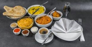 东方印地安人集合,鸡科尔马,鸡tikka masala, pilau 免版税库存图片