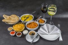 东方印地安人集合,鸡科尔马,鸡tikka masala, pilau 免版税图库摄影