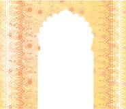 东方寺庙门花卉横幅设计 库存图片