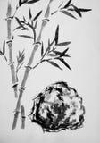 东方样式绘画、竹分支和石头 免版税库存图片