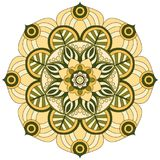 东方模式 传统圆的着色装饰品 坛场 向量例证