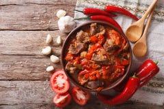 东方烹调:羊羔慢炖与菜特写镜头 Hori 图库摄影
