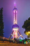 东方珍珠塔在晚上,长海,中国 免版税图库摄影