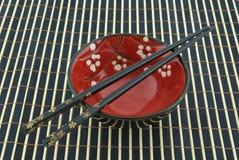 东方碗的筷子 库存图片