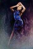 东方礼服的年轻美丽的女孩 免版税库存照片