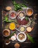 东方草本和香料品种:乙酸树、咖喱粉、辣椒粉、cayan胡椒、sira、月桂叶在匙子和碗,上面竞争 免版税库存图片