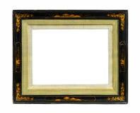 东方被隔绝的画框老古色古香的亮漆和金子  免版税库存图片