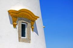 东望洋堡垒灯塔窗口,澳门,中国 免版税库存照片