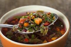 东欧汤或红色罗宋汤在碗有匙子的在木头 免版税图库摄影