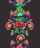 东欧花卉民间艺术-无缝的边界用风格化手制作了花 水彩条纹 向量例证