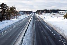 东欧高速公路冬天 图库摄影