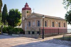 东正教在老镇科孚岛海岛,希腊 免版税库存照片