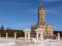 东正教在莫斯科地区 33c 1月横向俄国温度ural冬天 dubrovitsy的教会 波多利斯克俄罗斯 免版税库存图片