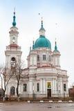 东正教教会门面 Yamburg的StCatherine大教堂 库存照片