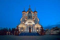东正教-突然显现大教堂 格尔洛夫卡,乌克兰 冬天圣诞夜 图库摄影