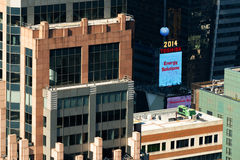 东芝品牌的广告在时代广场的 免版税库存照片