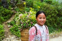 东范,河江市,越南, 2017年11月14日, :未认出的少数族裔哄骗与油菜籽花篮子在Hagiang 图库摄影