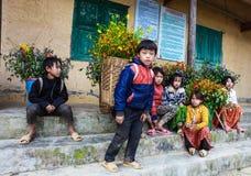 东范,河江市,越南, 2017年11月14日, :未认出的少数族裔哄骗与油菜籽花篮子在Hagiang 免版税库存图片