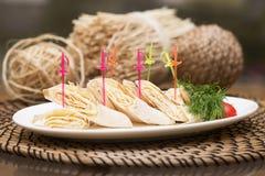 东部卷 皮塔饼用乳酪 快餐,开胃菜 免版税库存图片
