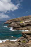 东部夏威夷lanai监视奥阿胡岛视图 库存图片
