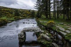 东部箭河在达特穆尔国立公园在德文郡县在英国 库存图片
