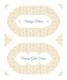东部金子阿拉伯传染媒介线设计模板 卡片和明信片的回教花卉框架 向量例证
